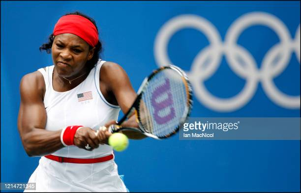 Serena Williams of United States is seen in action during the first round of the Women's singles during The Beijing Olympic Games on August 11 2008...