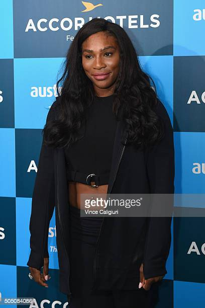 Serena Williams of United States of America arrives at the 2016 Australian Open Players Party at Club Sofitel Lounge on January 15 2016 in Melbourne...