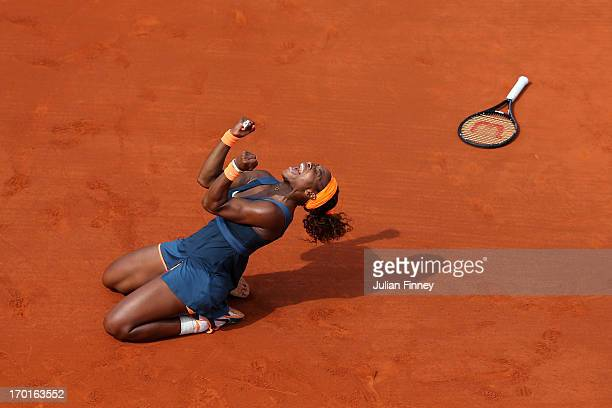 Serena Williams of United States of America celebrates match point in her Women's Singles Final match against Maria Sharapova of Russia during day...