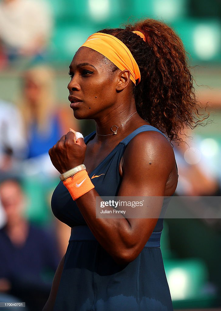 Serena Williams of United States of America celebrates match point womens' singles semi-final match against Sara Errani of Italy during day twelve of the French Open at Roland Garros on June 6, 2013 in Paris, France.