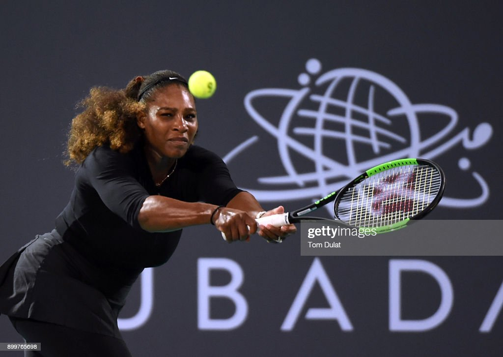 Serena Williams of United States plays a backhand during her Ladies Final match against Jelena Ostapenko of Latvia on day three of the Mubadala World Tennis Championship at International Tennis Centre Zayed Sports City on December 30, 2017 in Abu Dhabi, United Arab Emirates.