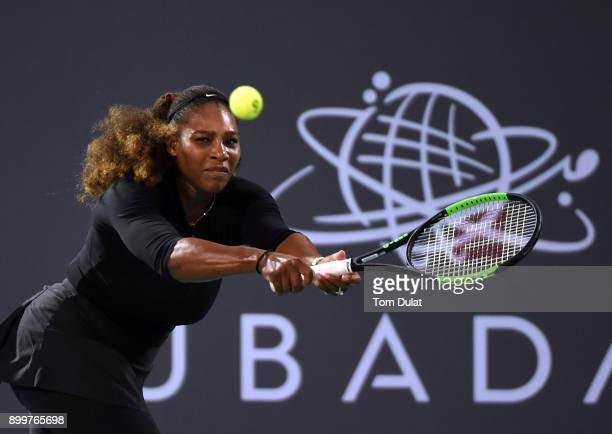 Serena Williams of United States plays a backhand during her Ladies Final match against Jelena Ostapenko of Latvia on day three of the Mubadala World...