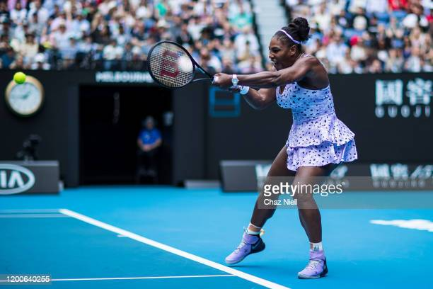 Serena Williams of United States plays a backhand in her first round match against Anastasia Potapov of Russia on day one of the 2020 Australian Open...