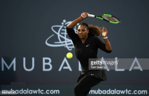 Serena Williams of United States plays a forehand during her Ladies Final match against Jelena Ostapenko of Latvia on day three of the Mubadala World...