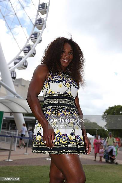 Serena Williams of United States poses for a photograph at the Wheel of Brisbane in South Bank on day two of the Brisbane International on December...