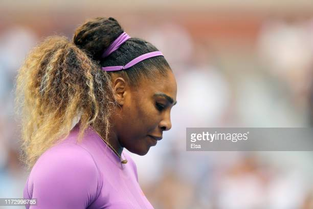 Serena Williams of United States reacts during her Women's Singles final match against Bianca Andreescu of Canada on day thirteen of the 2019 US Open...
