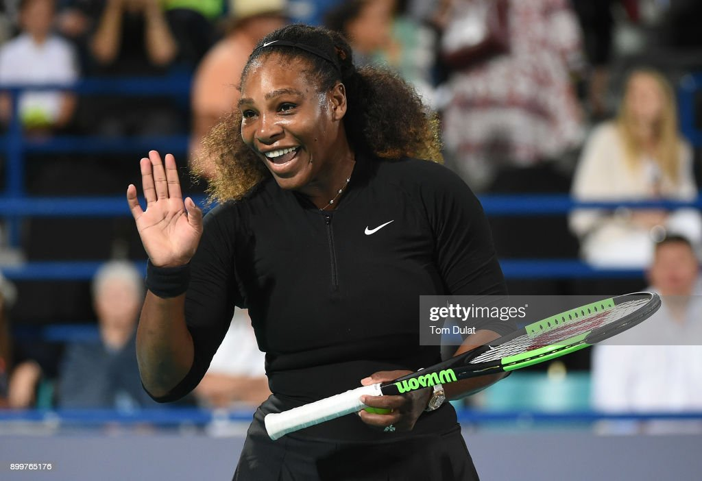 Serena Williams of United States smiles during her Ladies Final match against Jelena Ostapenko of Latvia on day three of the Mubadala World Tennis Championship at International Tennis Centre Zayed Sports City on December 30, 2017 in Abu Dhabi, United Arab Emirates.
