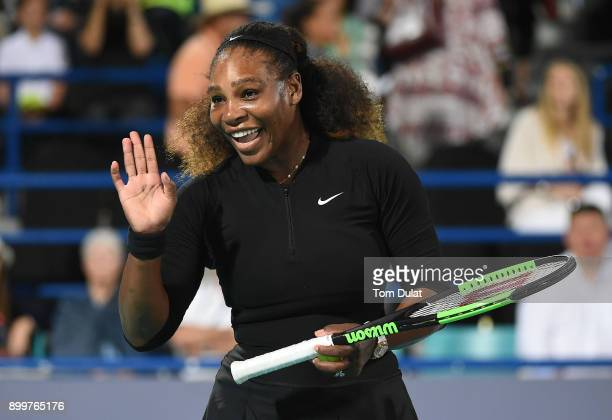 Serena Williams of United States smiles during her Ladies Final match against Jelena Ostapenko of Latvia on day three of the Mubadala World Tennis...