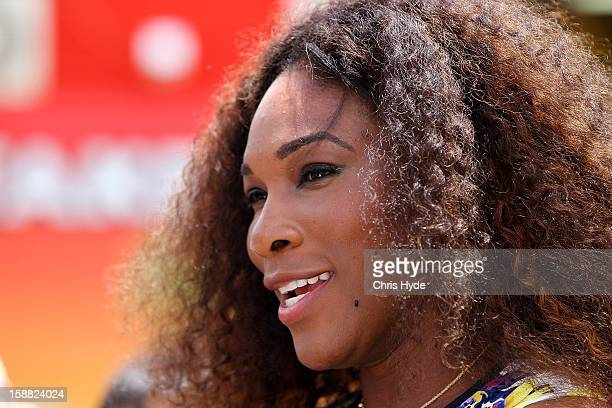 Serena Williams of United States talks to media during a visit to the Wheel of Brisbane in South Bank on day two of the Brisbane International on...