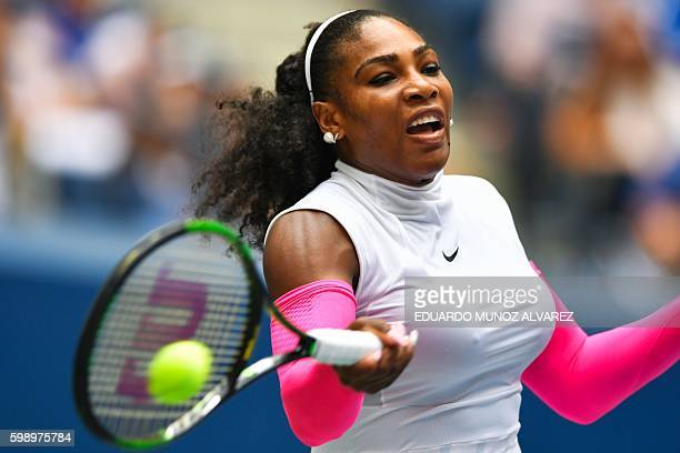 Serena Williams of US hits a return to Johanna Larsson of Sweden during their 2016 US Open women's singles match at the USTA Billie Jean King...