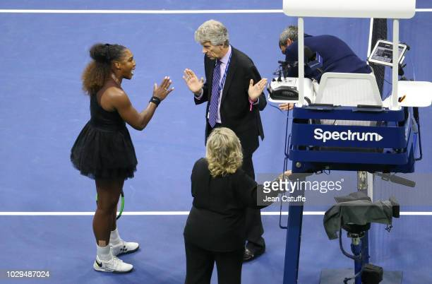 Serena Williams of USA argues with US Open head referee Brian Earley after problems with chair umpire Carlos Ramos of Portugal during the women's...