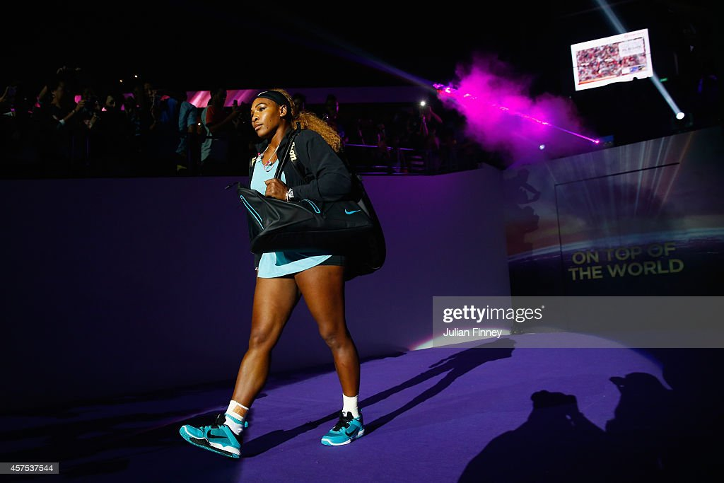 Serena Williams of USA arrives before her match against Ana Ivanovic of Serbia dduring day one of the BNP Paribas WTA Finals tennis at the Singapore Sports Hub on October 20, 2014 in Singapore.