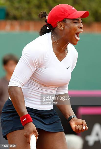 Serena Williams of USA celebrates a point during a singles match between Maria Irigoyen and Serena Williams as part of Fed Cup 2015 at Pilara Tenis...