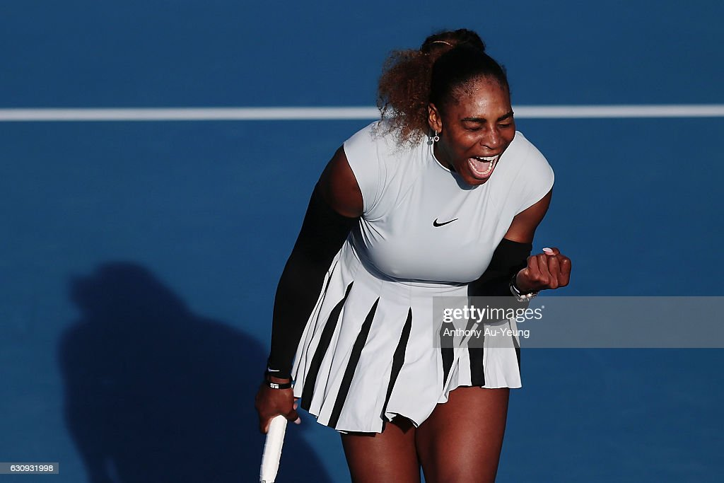 Serena Williams of USA celebrates a point in her match against Madison Brengle of USA on day three of the ASB Classic on January 4, 2017 in Auckland, New Zealand.