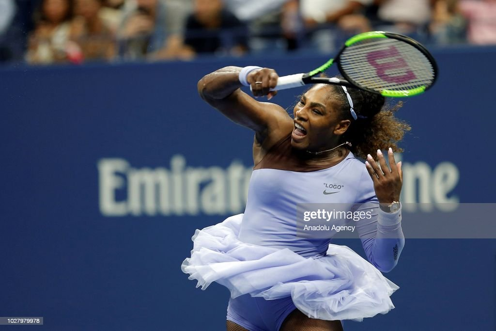 Serena Williams of USA celebrates after defeating Anastasija Sevastova (not seen) of Latvia during US Open 2018 women's singles semi-finals match on September 6, 2018 in New York, United States.