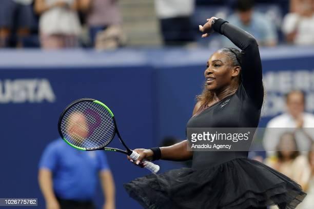 Serena Williams of USA celebrates after defeating Karolina Pliskova of Czech Republic during their women's singles quarterfinals match at the 2018 US...