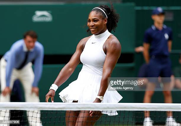 Serena Williams of USA celebrates after vies with Angelique Kerber of Germany in the women's singles finals match on day twelve of the 2016 Wimbledon...