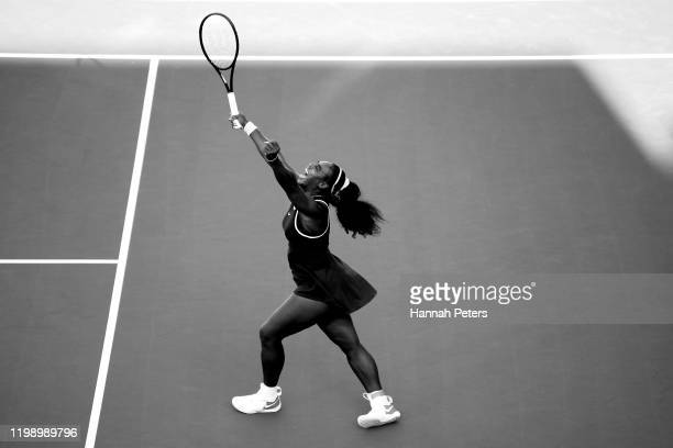 Serena Williams of USA celebrates after winning the final match against Jessica Pegula of USA at ASB Tennis Centre on January 12, 2020 in Auckland,...