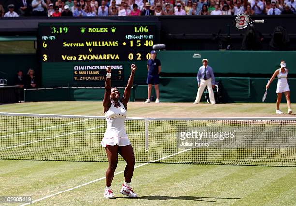 Serena Williams of USA celebrates Championship point after winning her Ladies Singles Final Match against Vera Zvonareva of Russia on Day Twelve of...