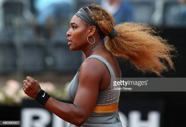 Serena Williams of USA celebrates defeating Andrea Petkovic of Germany during day four of the Internazionali BNL d'Italia tennis 2014 on May 14 2014...