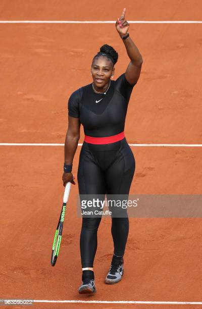 Serena Williams of USA celebrates her first round victory during Day Three of the 2018 French Open at Roland Garros on May 29 2018 in Paris France