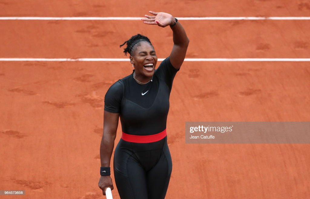Serena Williams of USA celebrates her victory during Day Five of the 2018 French Open at Roland Garros on May 31, 2018 in Paris, France.