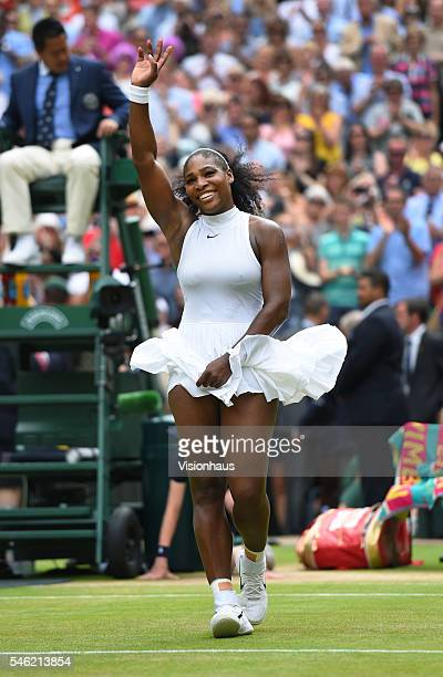 Serena Williams of USA celebrates match point after winning the ladies singles final against Angelique Kerber of Germany at Wimbledon on July 9 2016...