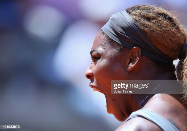 Serena Williams of USA celebrates winning a game against Sara Errani of Italy in the final during day eight of the Internazionali BNL d'Italia tennis...
