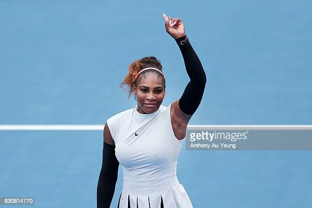 Serena Williams of USA celebrates winning her match against Pauline Parmentier of France on day two of the ASB Classic on January 3 2017 in Auckland...
