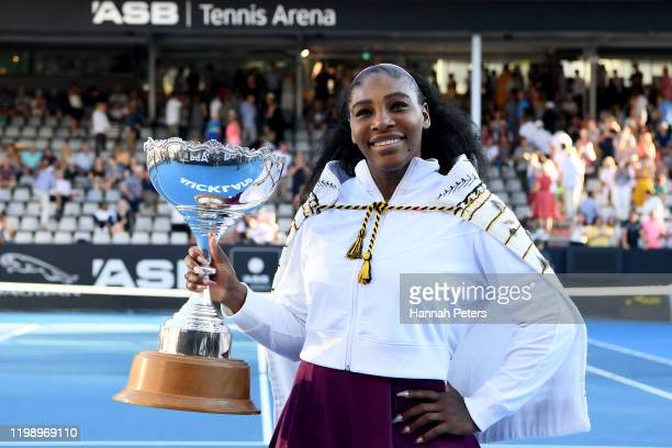 Serena Williams of USA celebrates with the trophy after winning the final match against Jessica Pegula of USA at ASB Tennis Centre on January 12 2020...