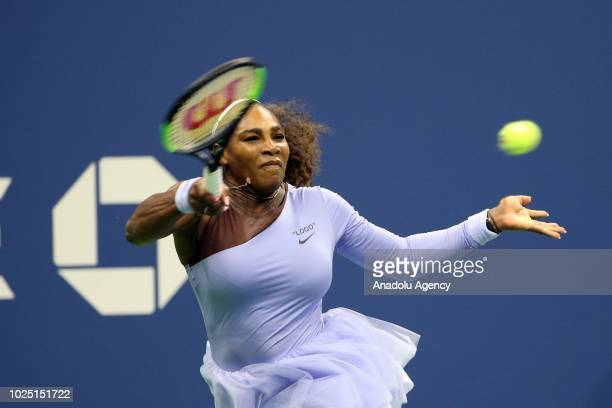 Serena Williams of USA competes against Carina Witthoeft of Germany during US Open 2018 tournament in Arthur Ashe Stadium in Flushing New York United...