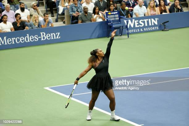 Serena Williams of USA competes against Naomi Osaka of Japan during US Open 2018 women's final match on September 8 2018 in New York United States