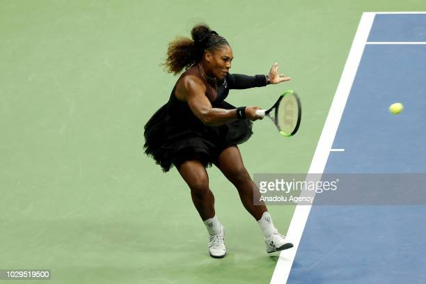 Serena Williams of USA competes against Naomi Osaka of Japan during US Open 2018 women's final match on September 8, 2018 in New York, United States.