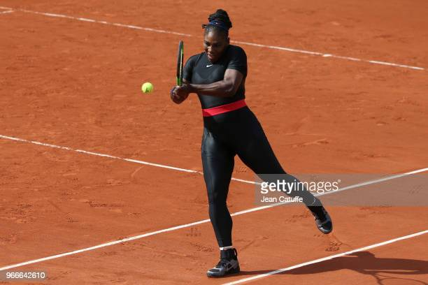 Serena Williams of USA during Day 8 of the 2018 French Open at Roland Garros stadium on June 3 2018 in Paris France