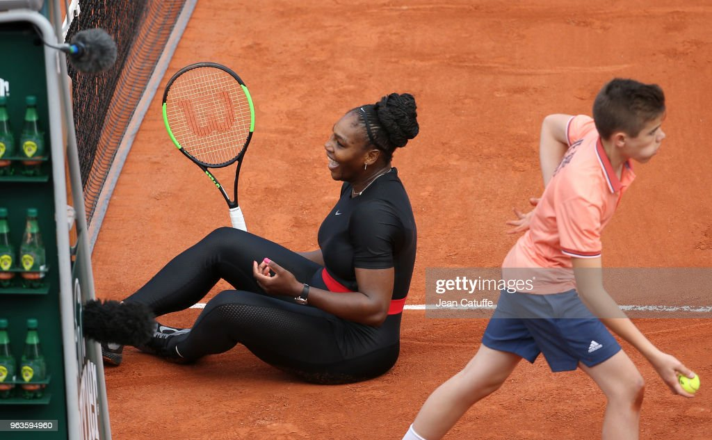 Serena Williams of USA during Day Three of the 2018 French Open at Roland Garros on May 29, 2018 in Paris, France.