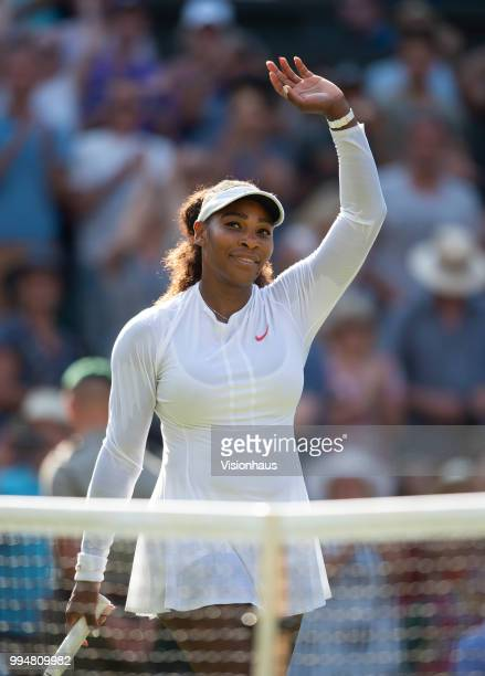 Serena Williams of USA during her third round match against Kristina Mladenovic of France on day five of the Wimbledon Lawn Tennis Championships at...