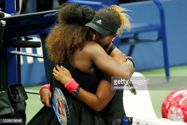Serena Williams of USA greets Naomi Osaka of Japan during US Open 2018 women's final match on September 8 2018 in New York United States