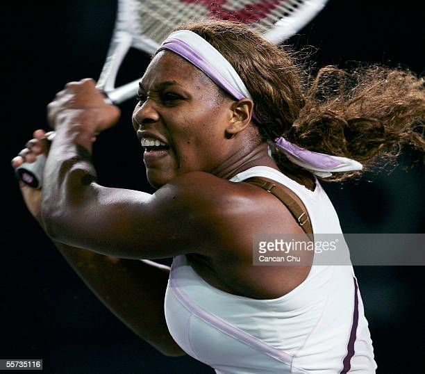 Serena Williams of USA hits a shot to Tiantian Sun of China during the China Open on September 21 2005 at the Beijing Tennis Center in Beijing China