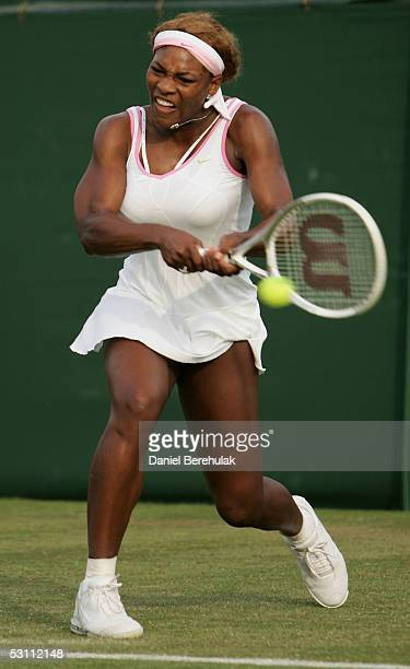Serena Williams of USA in action against Angela Haynes of USA during the first round of the Wimbledon Lawn Tennis Championship on June 21, 2005 at...