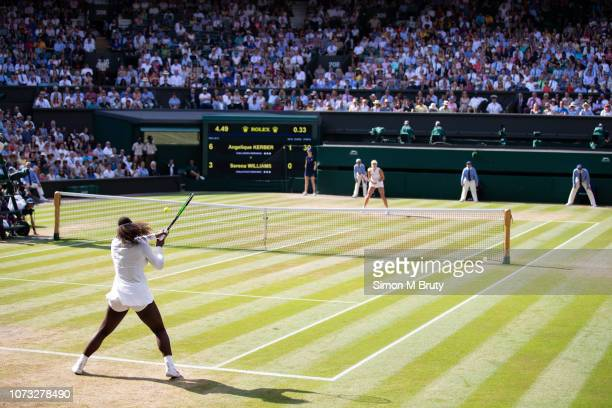 Serena Williams of USA in action against Angelique Kerber of Germany in the Ladies Singles Final on center court during The Wimbledon Lawn Tennis...