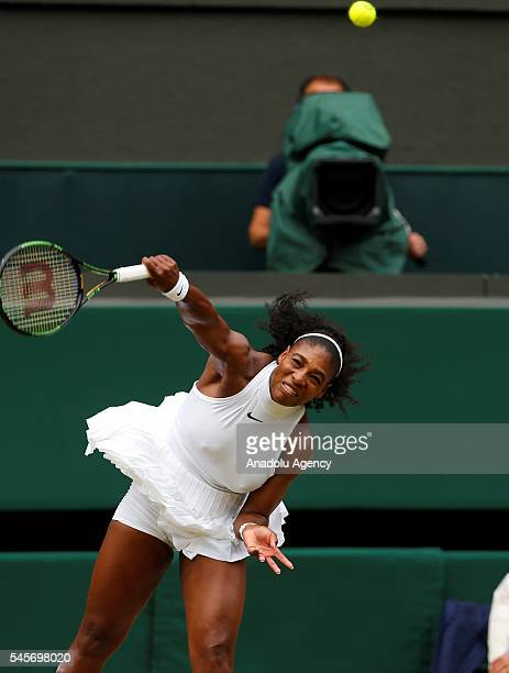 Serena Williams of USA in action against Angelique Kerber of Germany in the women's singles finals match on day twelve of the 2016 Wimbledon...