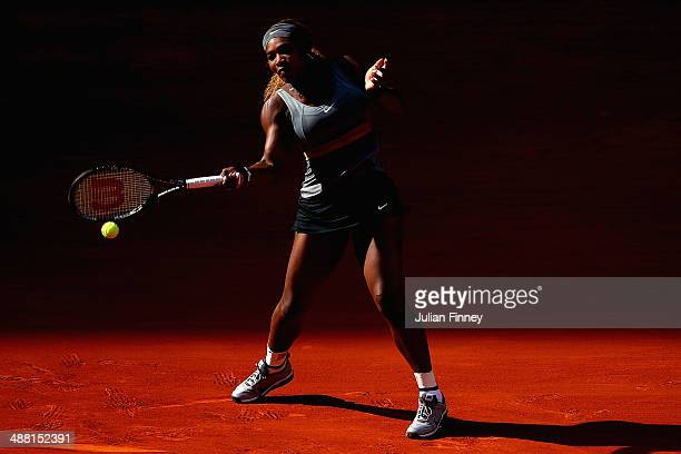 Serena Williams of USA in action against Belinda Bencic of Switzerland during day two of the Mutua Madrid Open tennis tournament at the Caja Magica...