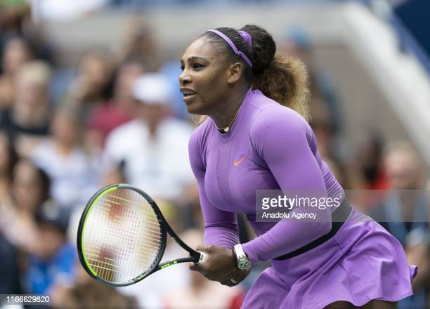 Serena Williams of USA in action against Bianca Andreescu of Canada during US Open Championships women's singles final match at Billie Jean King...
