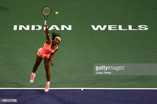 Serena Williams of USA in action against Monica Niculescu of Romania during day five of the BNP Paribas Open tennis at the Indian Wells Tennis Garden...