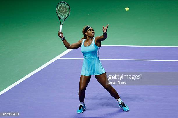 Serena Williams of USA in action against Simona Halep of Romania in the final during day seven of the BNP Paribas WTA Finals tennis at the Singapore...
