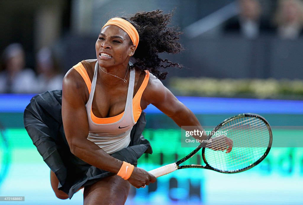 Serena Williams of USA in action against Sloane Stephens of USA in their second round match during day three of the Mutua Madrid Open tennis tournament at the Caja Magica on May 4, 2015 in Madrid, Spain.
