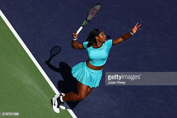 Serena Williams of USA in action against Victoria Azarenka of Belarus in the final during day fourteen of the BNP Paribas Open at Indian Wells Tennis...