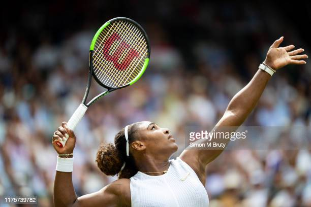 Serena Williams of USA in action during the Women's Singles Final against Simona Halep of Romania at The Wimbledon Lawn Tennis Championship at the...