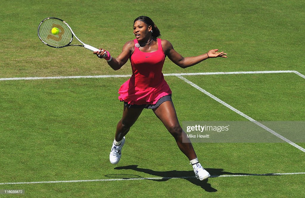 Serena Williams of USA in action in her match against Tsventana Pironkova of Bulgaria during day four of the AEGON International at Devonshire Park on June 14, 2011 in Eastbourne, England.