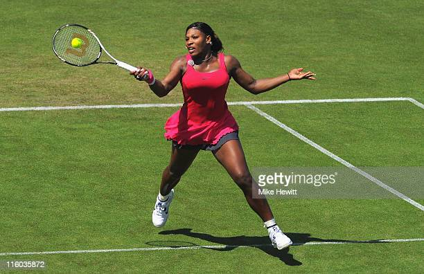 Serena Williams of USA in action in her match against Tsventana Pironkova of Bulgaria during day four of the AEGON International at Devonshire Park...